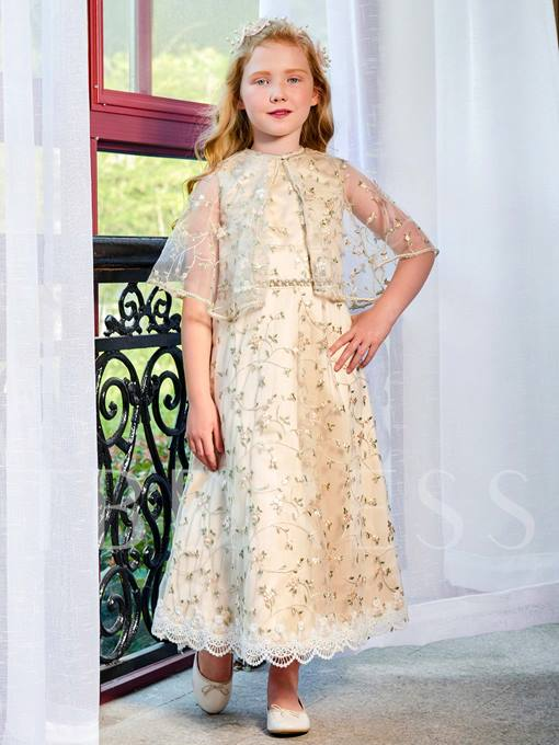Lace Beading A-Line Ankle-Length Flower Girl Dress With Shawl