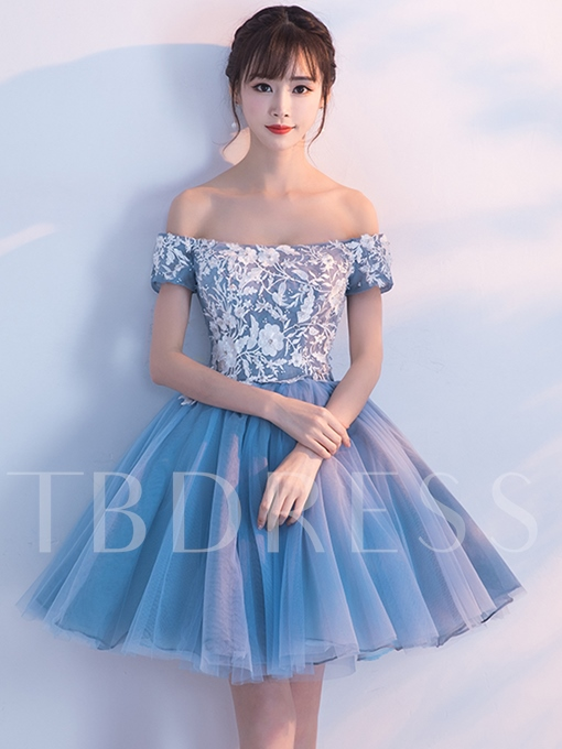 A-Line Off-the-Shoulder Short Sleeves Appliques Beading Homecoming Dress