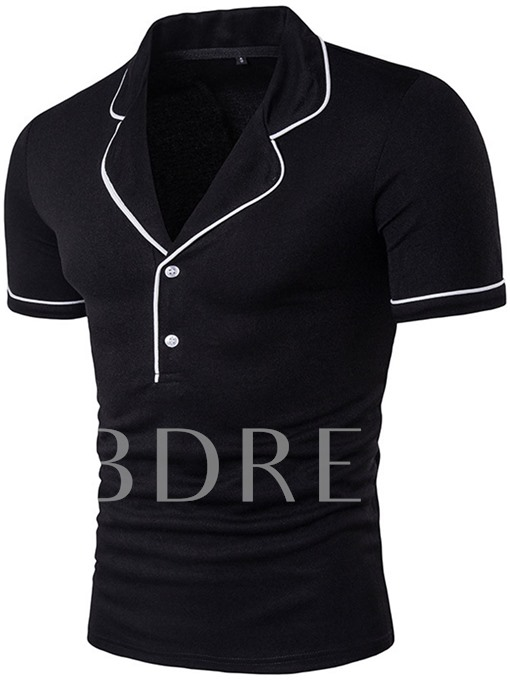 Notched Collar Button Decorated Slim Men's T-Shirt