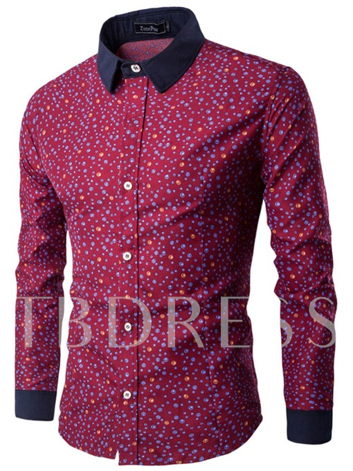 Square Neck Polka Dots Printed Slim Men's Leisure Shirt