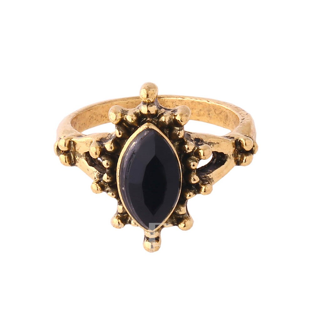Alloy Rhinestone Resin Vintage Oil Drip European Ring