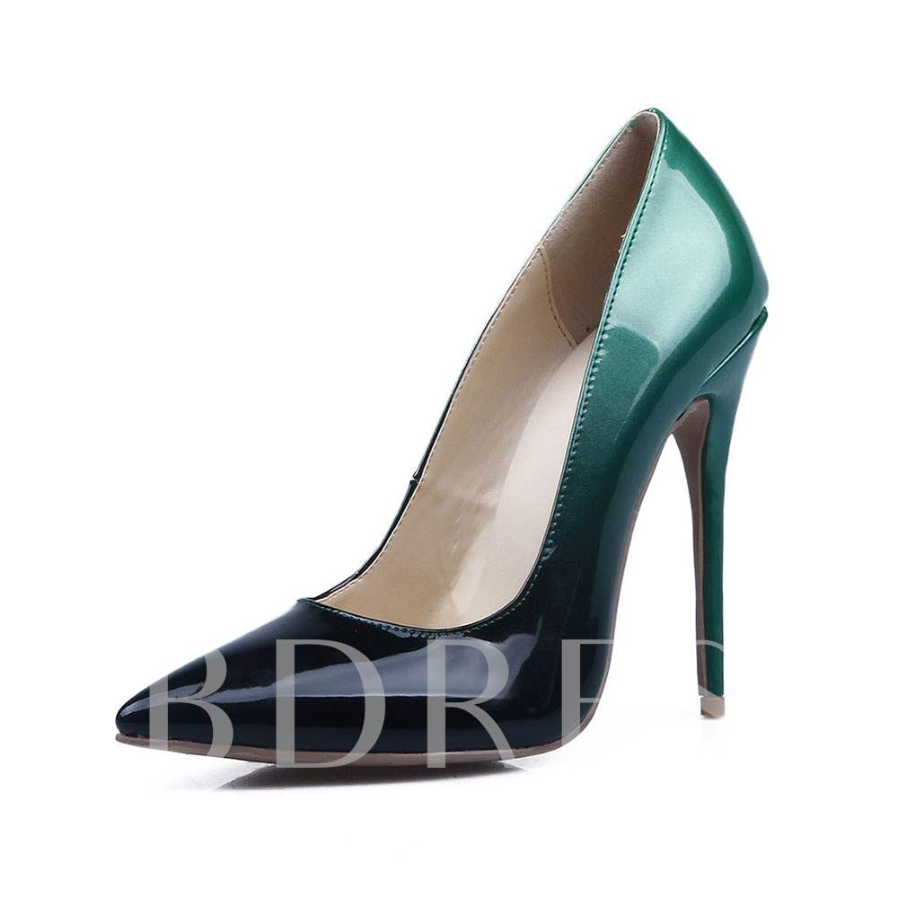 Gradient Banquet Prom Shoes Slip-On Pointed Toe Pumps