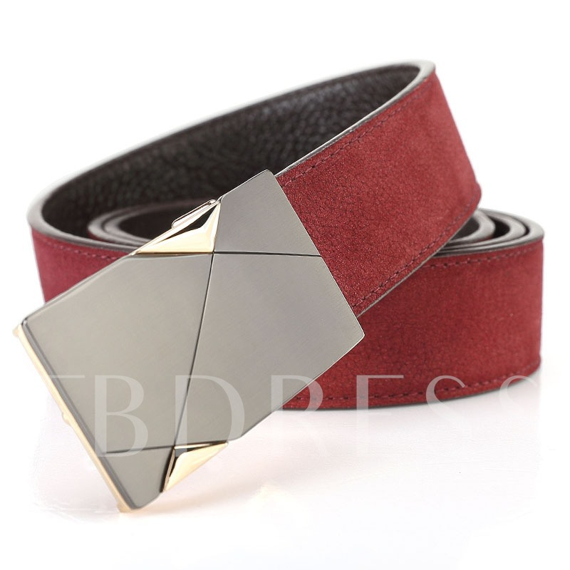 Artificial Leather Alloy Smooth Buckle Soft Men's Belts