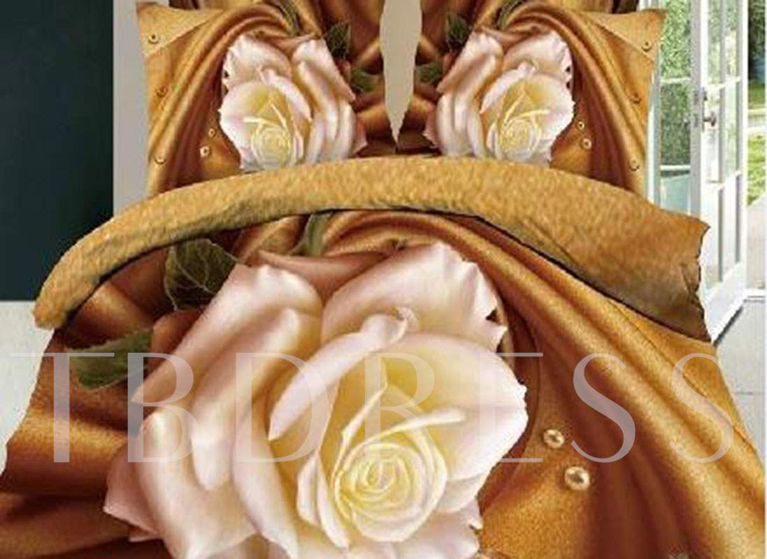 Blooming White Rose Printed Cotton 3D 4-Piece Bedding Sets/Duvet Covers