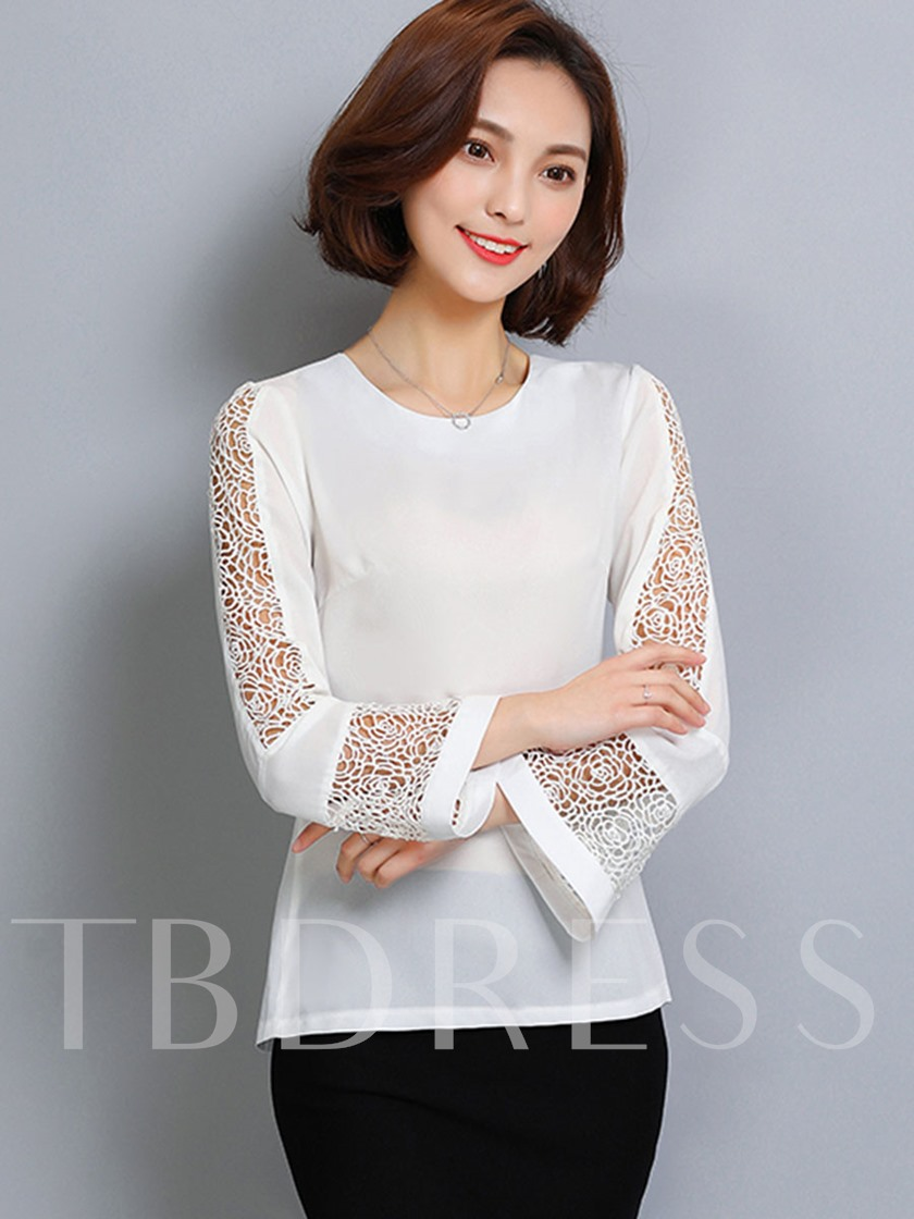 Hollow Round Neck Flare Sleeve Women's Blouse