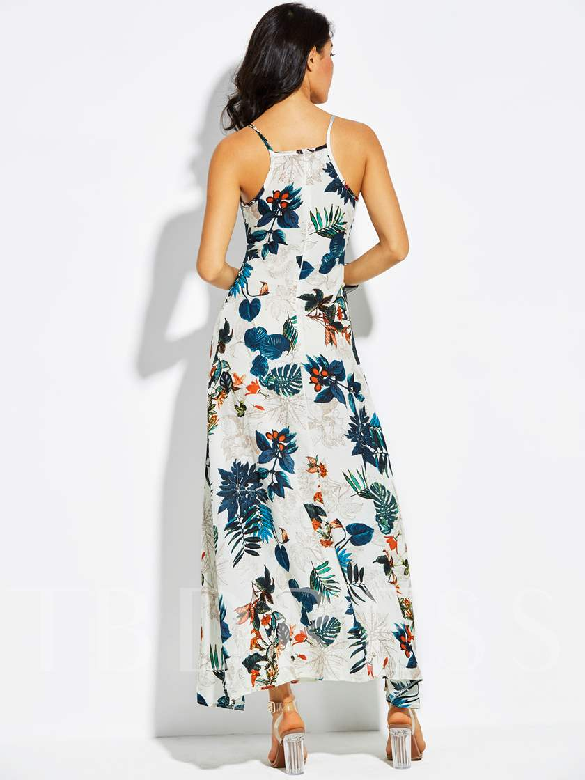 V-Neck Vacation Spaghetti Strap Plant Print Women's Maxi Dress