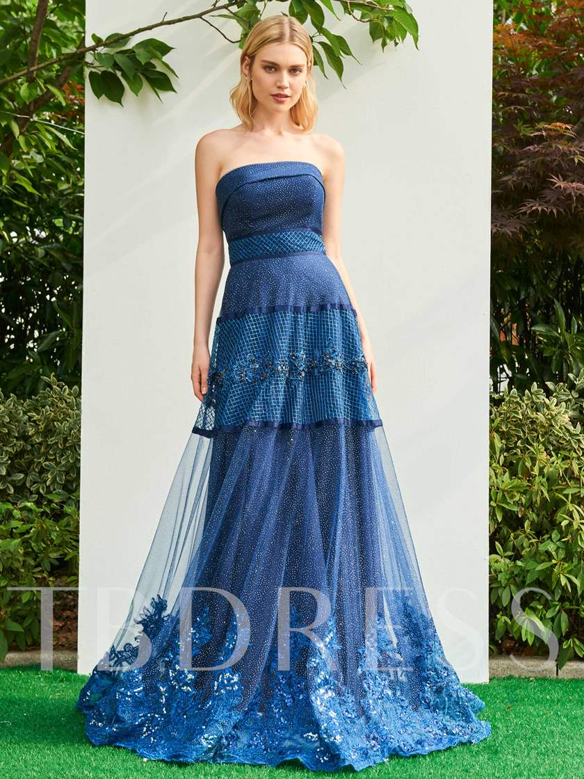 Strapless Beading A-Line Appliques Brush Train Prom Dress