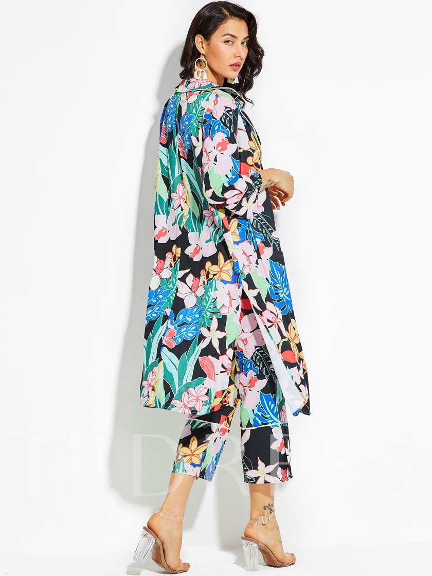 Notched Lapel Color Block Flower Print Long Vacation Women's Cardigan