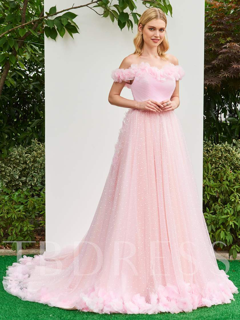 Off the Shoulder Flowers Court Train Pink Wedding Dress