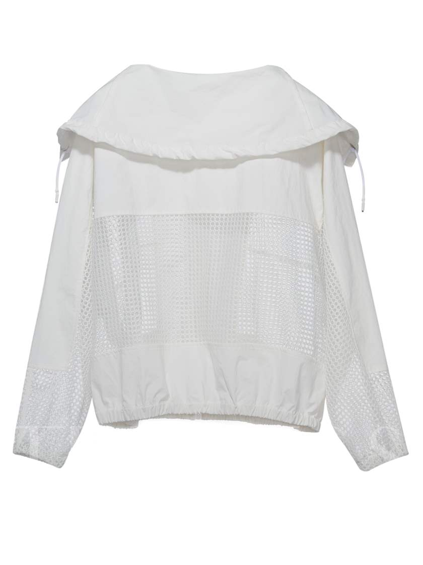 White Hooded Hollow Mesh Women's Jacket