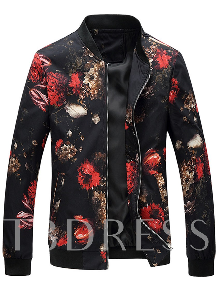 Floral Print Zipper Men's Leisure Jacket