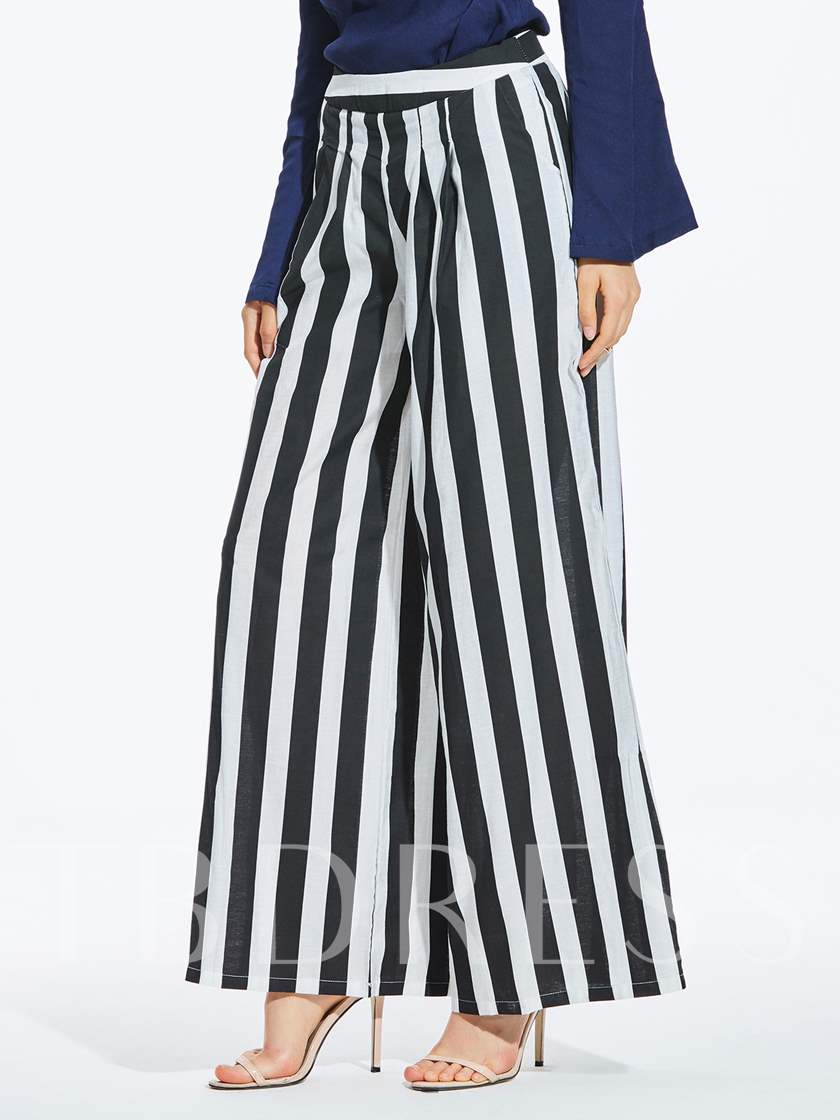 Stripe Color Block Wide Legs Full Length Women's Pants