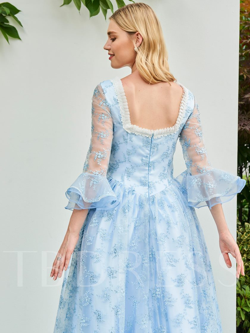Ball Gown Square Lace Ruffles Evening Dress