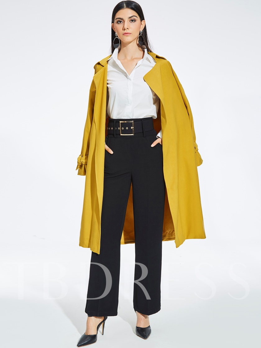 Long Self Belt Lace-up Women's Trench Coat