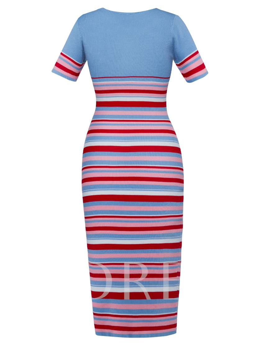 Mid-Calf Color Block Stripe Women's Sweater Dress