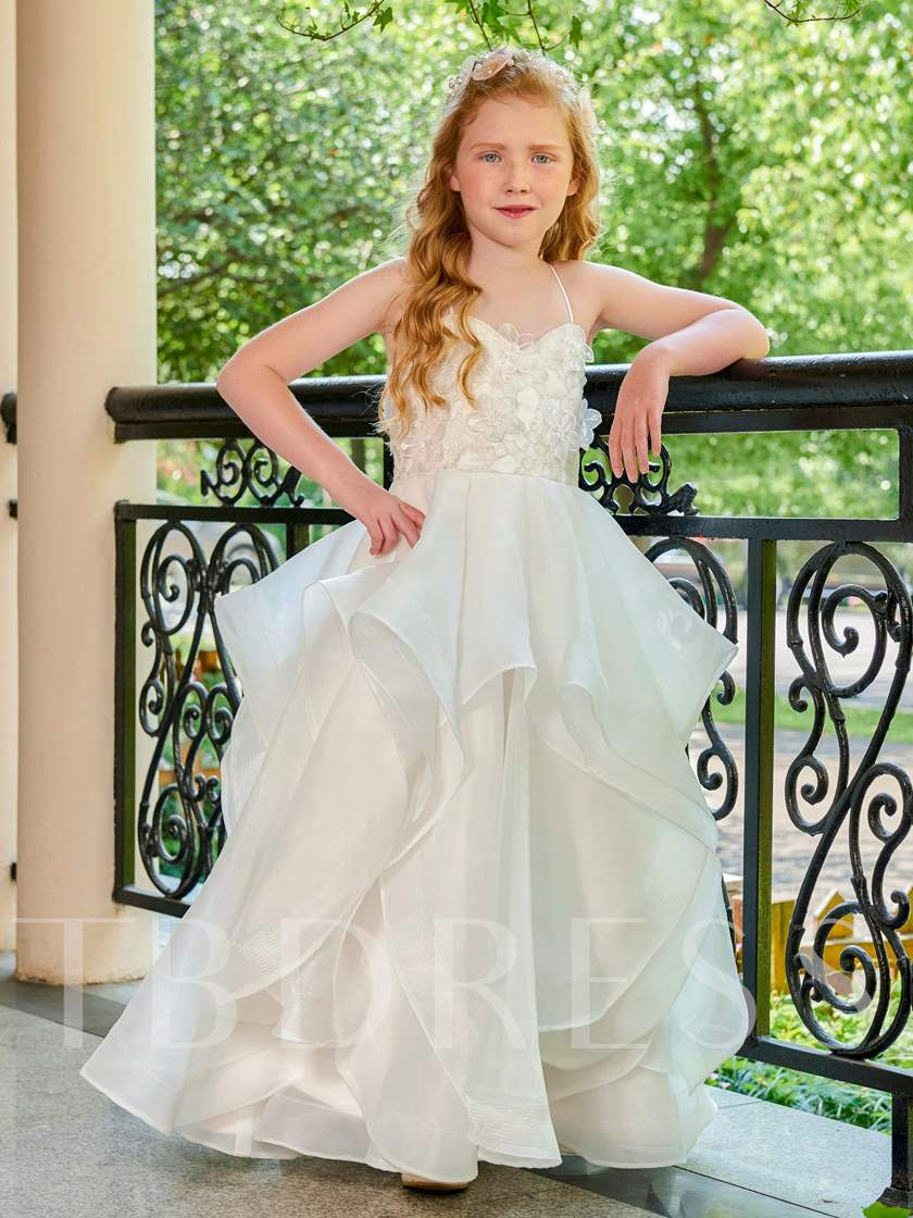 Spaghetti Straps Appliques Flower Girl Dress