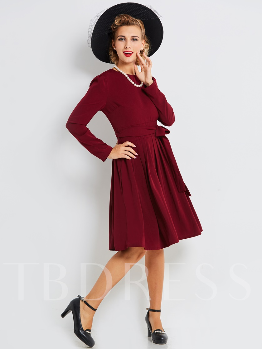 Fuchsia Lace up Women's Long Sleeve Dress