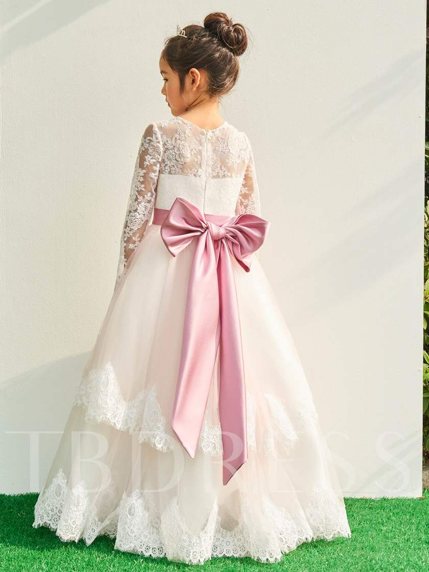 Long Sleeves Lace Bowknot Flower Girl Dress