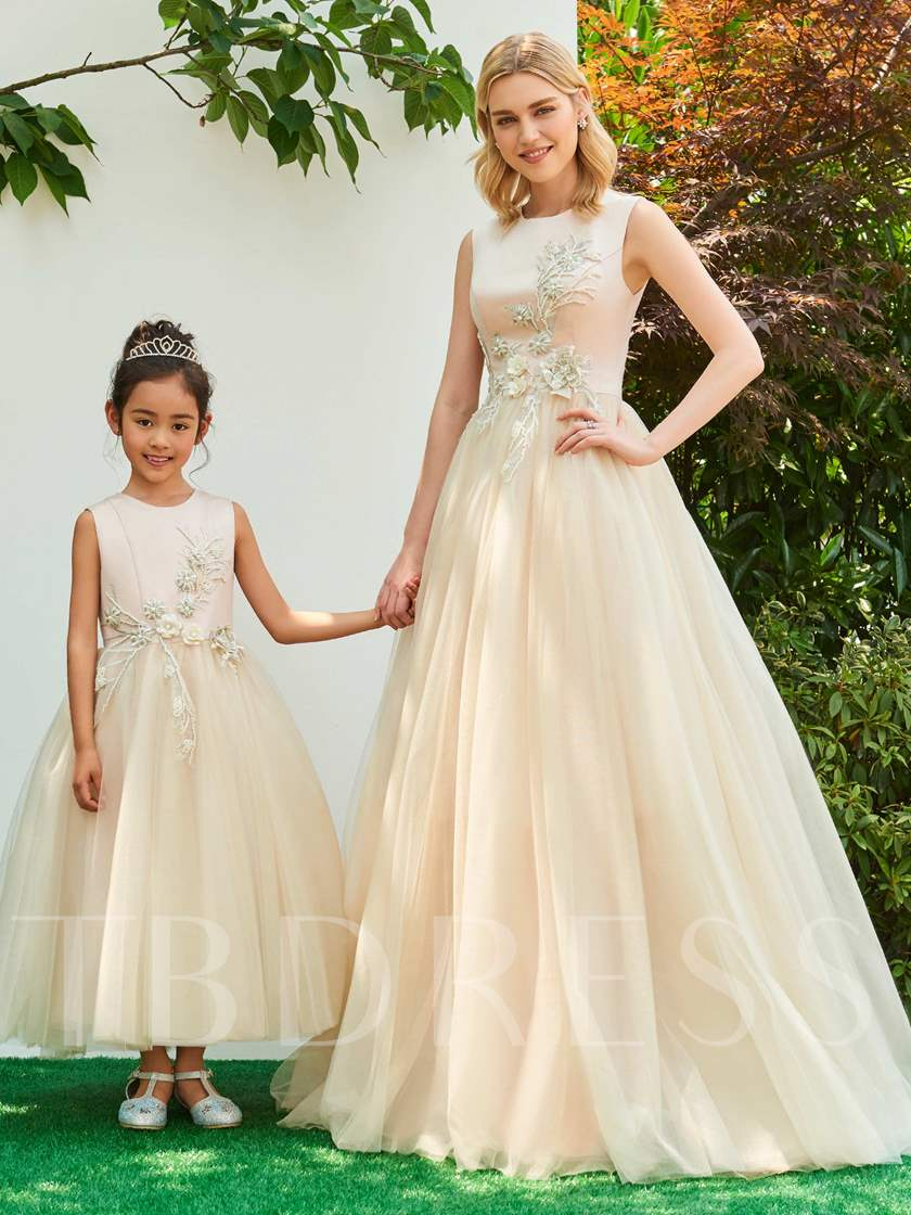 Scoop Neck Appliques Beading Ankle-Length Flower Girl Dress