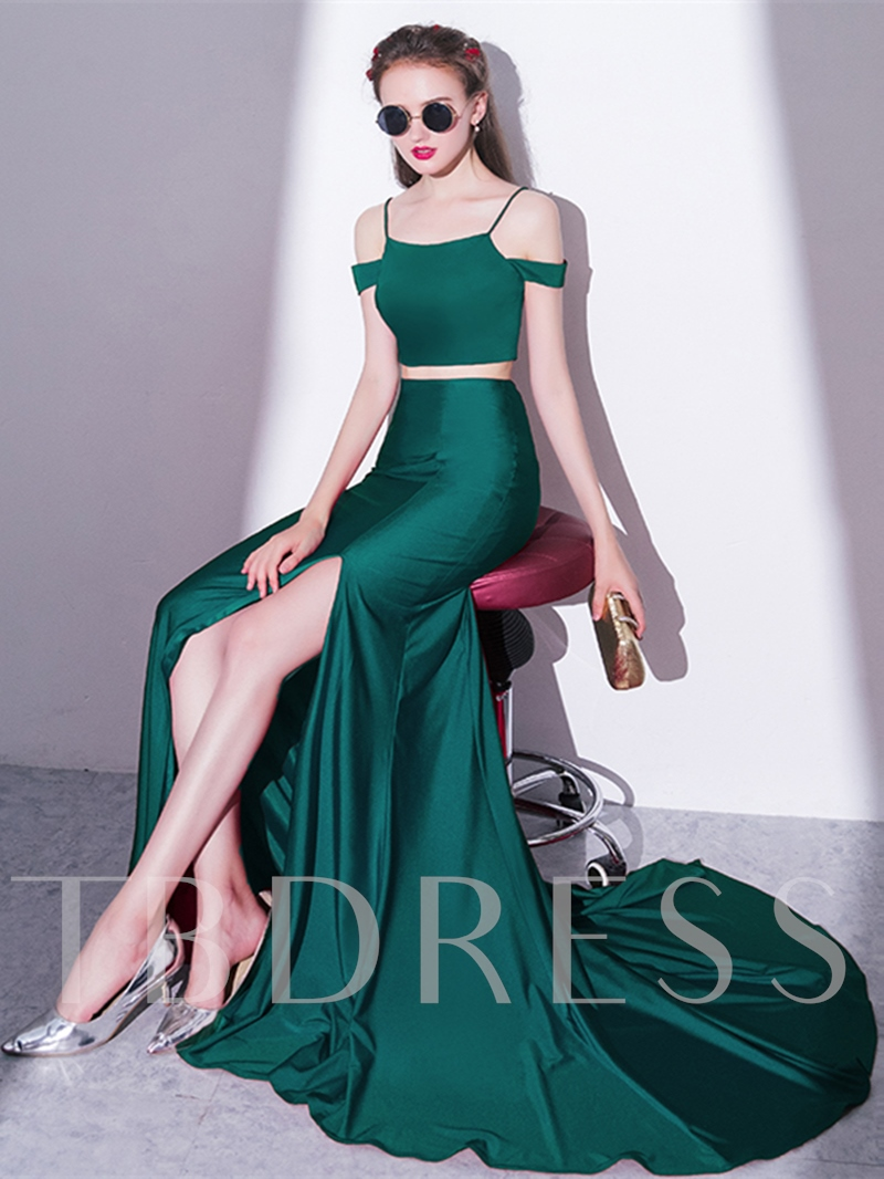 A-Line Spaghetti Straps Split-Front Evening Dress