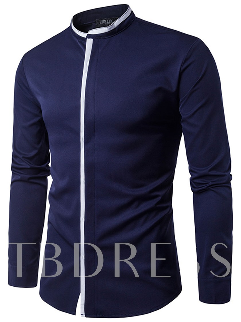 Casual Cotton Color Block Solid Color Stand Collar Plain Long Sleeves Single-Breasted Men's Shirt