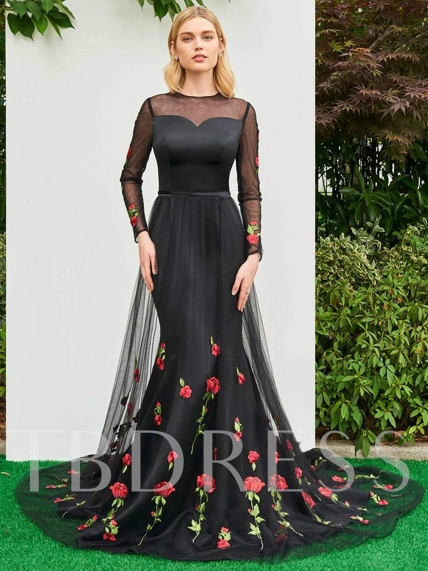 Long Sleeves Appliques Lace Mermaid Evening Dress