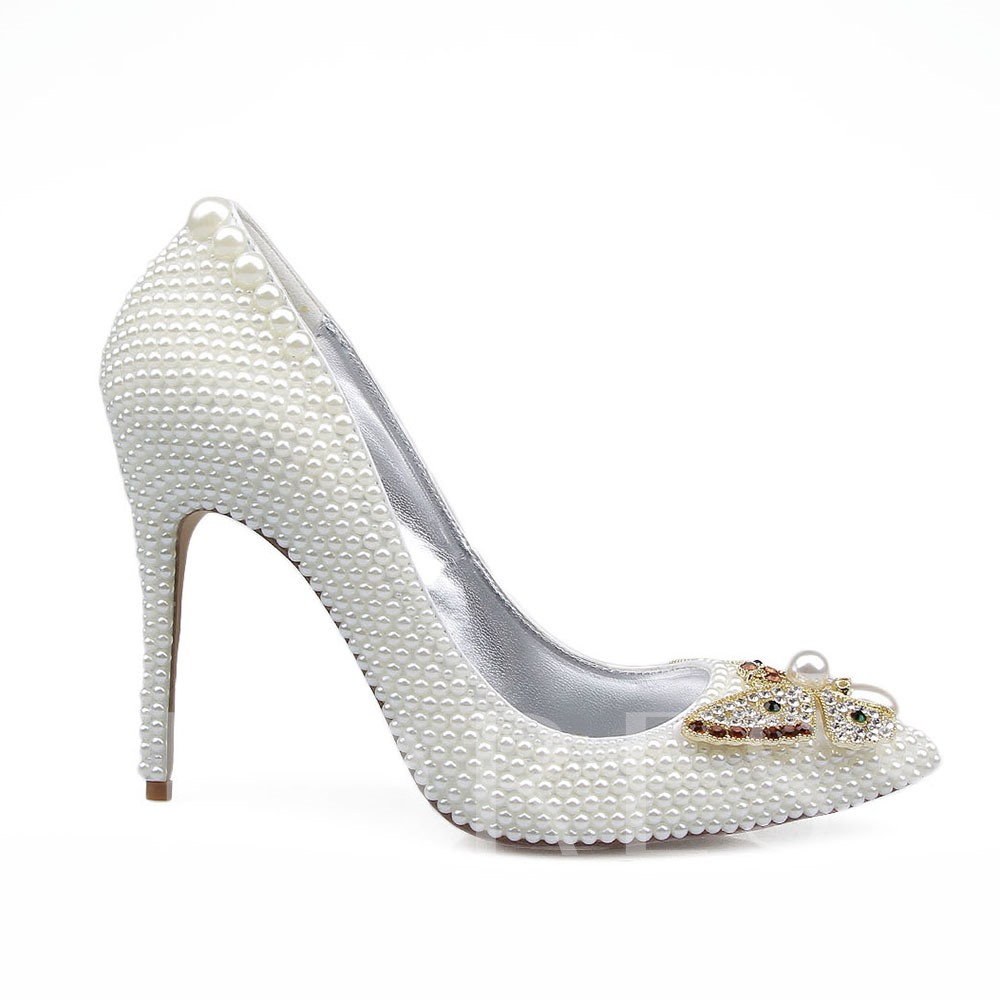 Butterfly Decorations Slip-On Beads Rhinestone Weeding Shoes