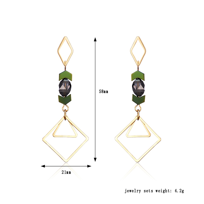 Color Blocking Geometric Rhinestone Zircon European Earrings