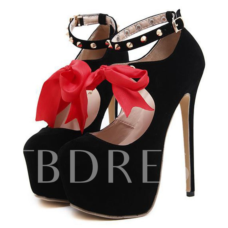 Lace-Up Platform Ribbon Rivet Color Block Line-Style Buckle Women's Pumps