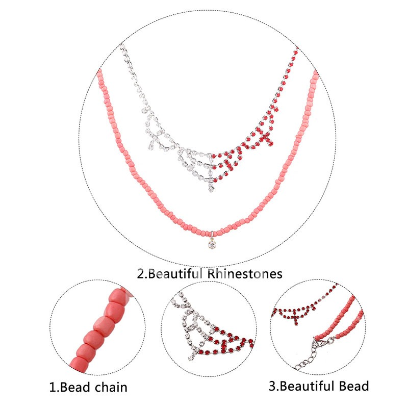 Beads Chain Diamante Rhinestone Alloy Jewelry Sets