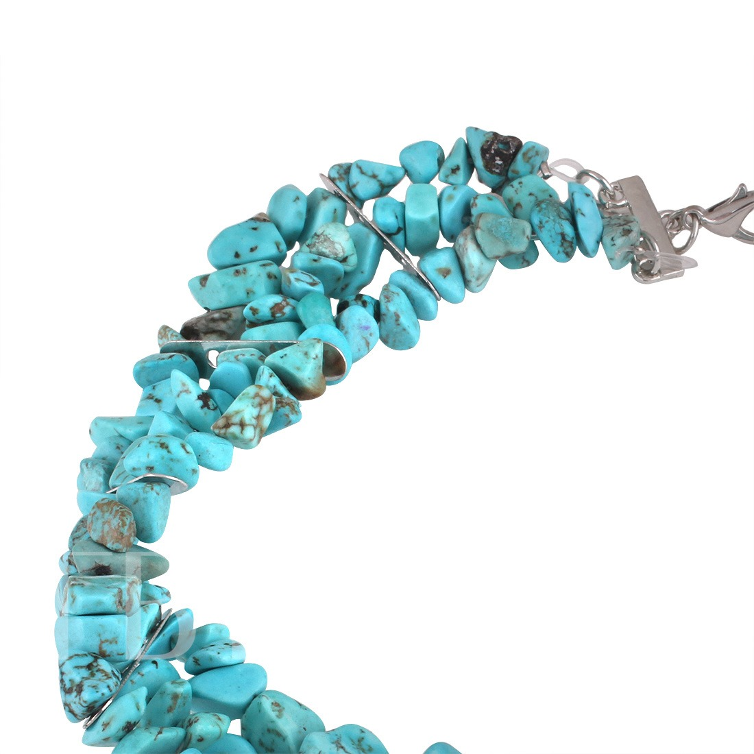 Blue Turquoise Alloy Irregular Multilayer Choker Necklace