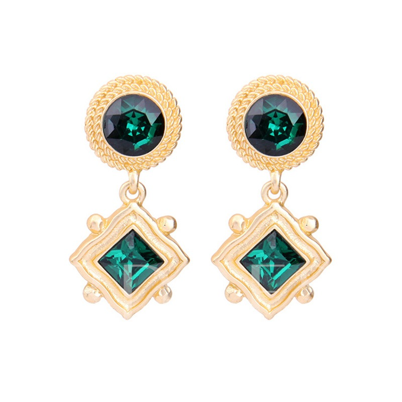 Rhinestone Alloy Geometric Vintage Earrings