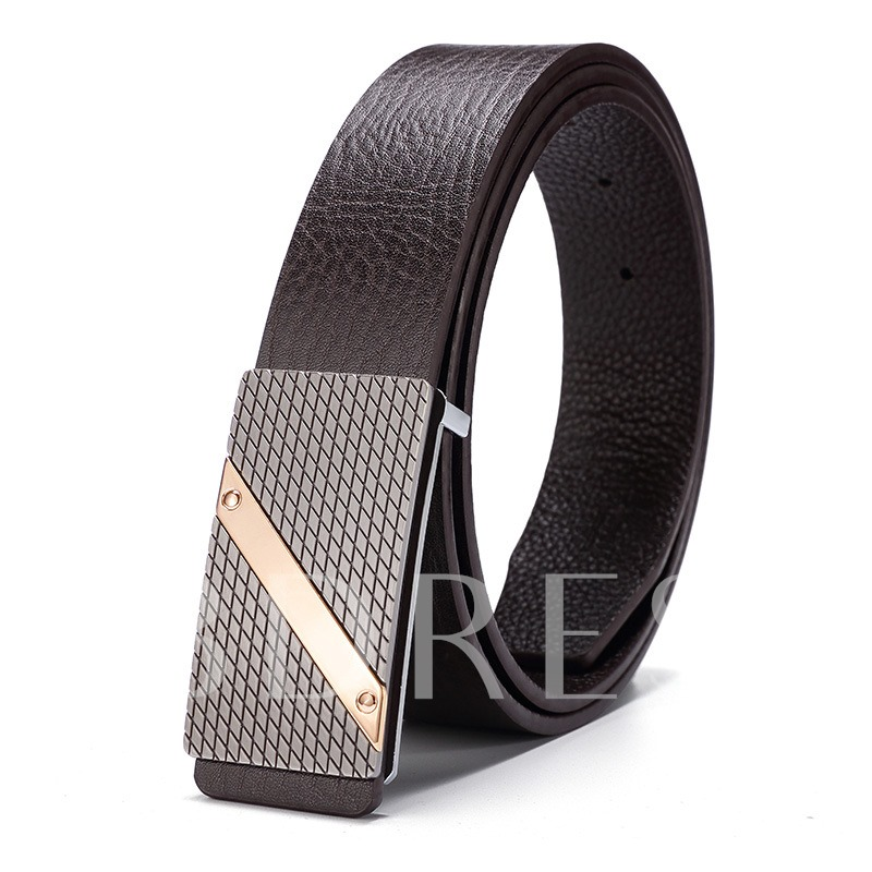 Cowhide Alloy Bark Texture Smooth Buckle Men's Belts
