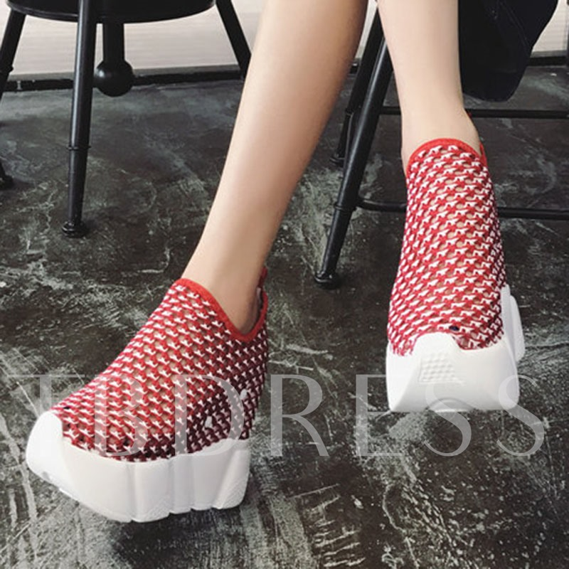 Color Block Platform Mesh Slip-On Women's Hidden Elevator Heel Shoes