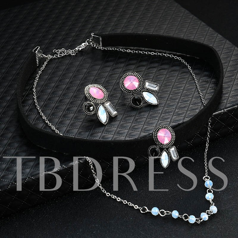 Rhinestone Alloy Geometric Velet Rope Torques Choker Necklace Jewelry Sets