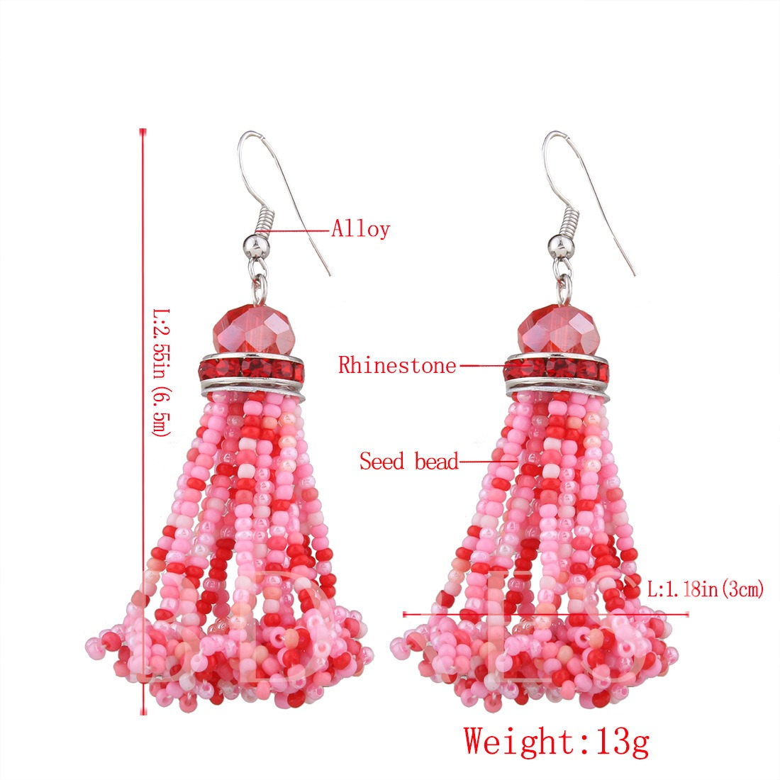 Colorful Beads Rhinestone Alloy Bohemian Earrings