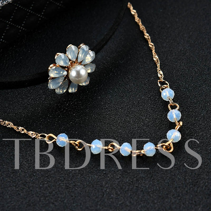 Rhinestone Pearl Flower Alloy Torques Choker Necklace Jewelry Sets