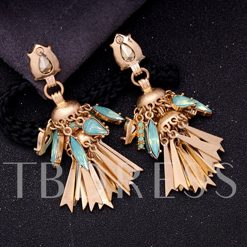 Stereo Metal Synthetic Stones Alloy Personalized Tassel Earrings