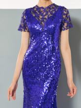 Jewel Mermaid Lace Sequins Evening Dress