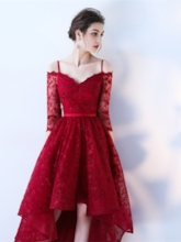 Half Sleeves Spaghetti Straps A-Line Lace Sashes Asymmetry Prom Dress