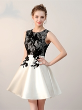 A-Line Scoop Appliques Lace Short Homecoming Dress