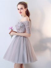A-Line Half Sleeves Beaded Lace Off-the-Shoulder Short Homecoming Dress
