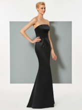 Strapless Mermaid Black Cheap Evening Dress