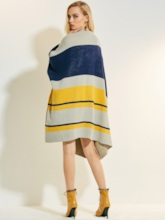 Wool Blends Color Stripe Mosaic Women's Cape