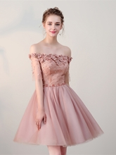 A-Line Flowers Lace Pearls Off-the-Shoulder Half Sleeves Short Homecoming Dress