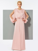 Beading Long Sleeves Pink Evening Jumpsuits