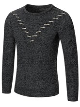 Round Collar Inverted Triangle Plain Loose Men's Leisure Sweater