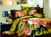 Pink Peony and Green Leaves Printed Cotton 3D 4-Piece Bedding Sets/Duvet Covers