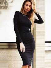 Back Zipper Long Sleeve Plain Women's Sheath Dress