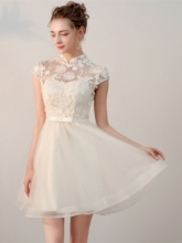 Bowknot A-Line Sashes High Neck Appliques Mini Homecoming Dress